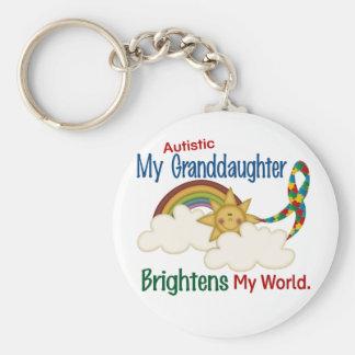 Autism BRIGHTENS MY WORLD 1 Granddaughter Basic Round Button Keychain