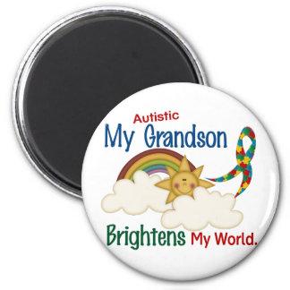 Autism BRIGHTENS MY WORLD 1 Grandson 2 Inch Round Magnet