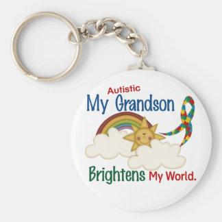 Autism BRIGHTENS MY WORLD 1 Grandson Basic Round Button Keychain