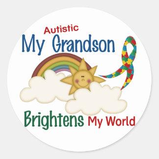 Autism BRIGHTENS MY WORLD 1 Grandson Classic Round Sticker
