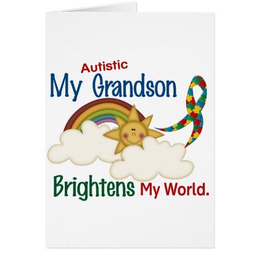 Autism BRIGHTENS MY WORLD 1 Grandson Greeting Card