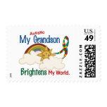 Autism BRIGHTENS MY WORLD 1 Grandson Postage Stamp