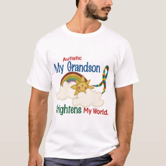 Autism BRIGHTENS MY WORLD 1 Grandson T-Shirt