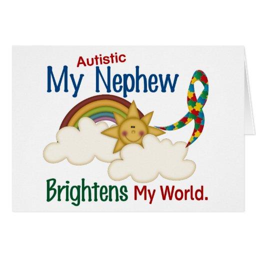 Autism BRIGHTENS MY WORLD 1 Nephew Greeting Card