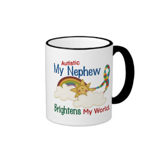 Autism BRIGHTENS MY WORLD 1 Nephew Coffee Mugs