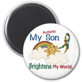 Autism BRIGHTENS MY WORLD 1 Son 2 Inch Round Magnet