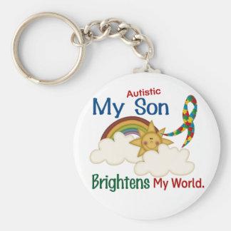 Autism BRIGHTENS MY WORLD 1 Son Basic Round Button Keychain
