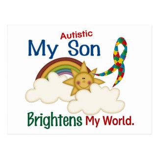 Autism BRIGHTENS MY WORLD 1 Son Postcard