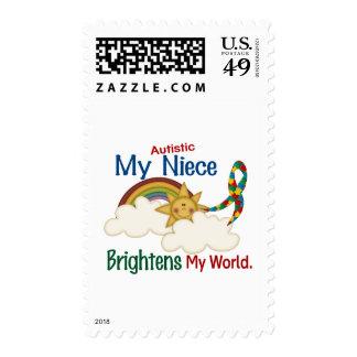 Autism BRIGHTENS MY WORLD Niece Postage Stamp