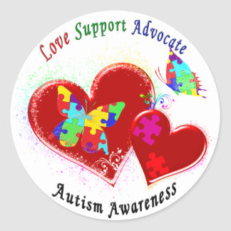 Autism Butterflies in Hearts Classic Round Sticker