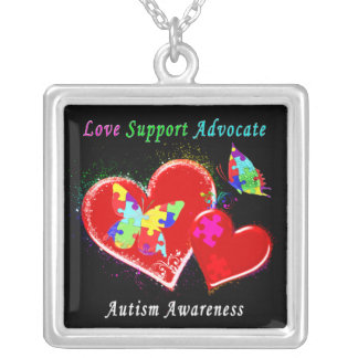 Autism Butterflies in Hearts Silver Plated Necklace