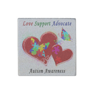 Autism Butterflies in Hearts Stone Magnet