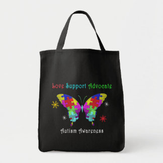 Autism Butterfly Grocery Tote Bag