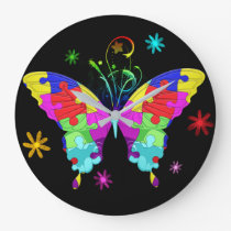 Autism Butterfly Large Clock