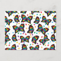 Autism Butterfly Puzzle Pattern Announcement Postcard