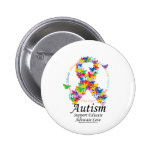 Autism Butterfly Ribbon 2 Inch Round Button