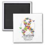 Autism Butterfly Ribbon 2 Inch Square Magnet