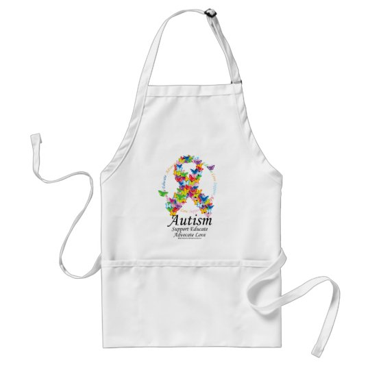 Autism Butterfly Ribbon Adult Apron