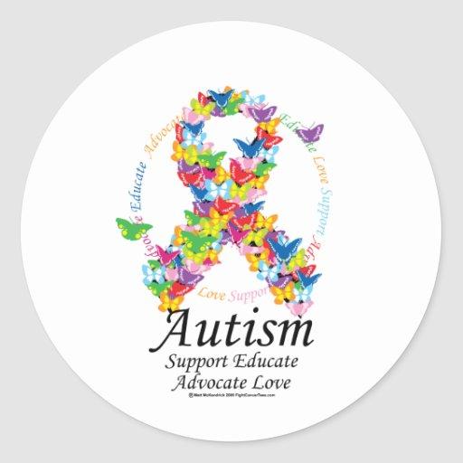 Autism Butterfly Ribbon Classic Round Sticker
