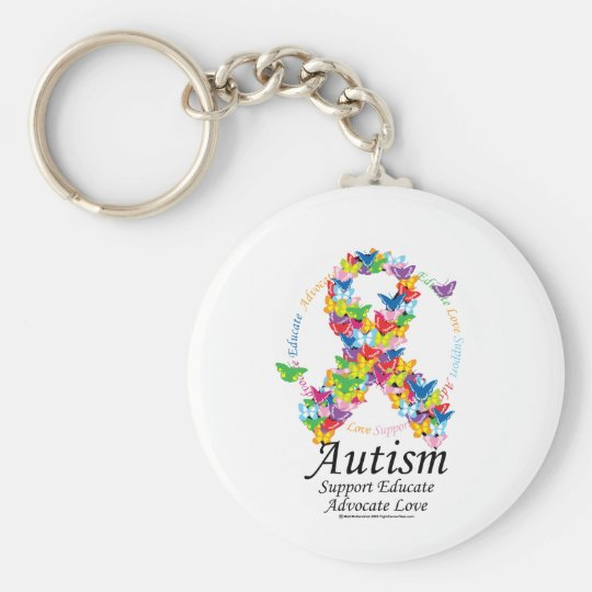 Autism Butterfly Ribbon Keychain