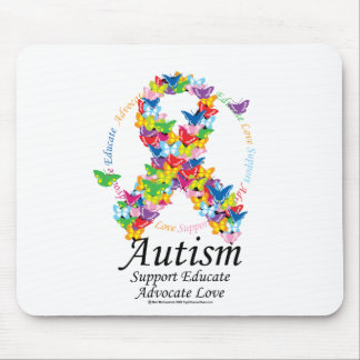 Autism Butterfly Ribbon Mouse Pad
