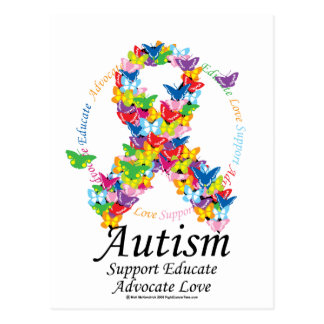 Autism Butterfly Ribbon Post Cards