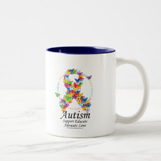 Autism Butterfly Ribbon Two-Tone Coffee Mug