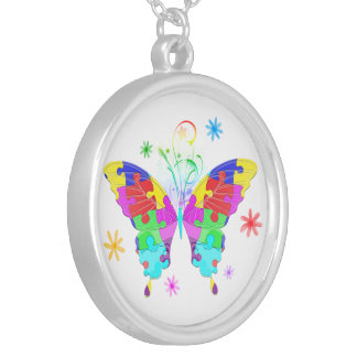 Autism Butterfly Silver Plated Necklace