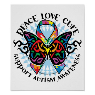 Autism Butterfly Tribal 2 Poster