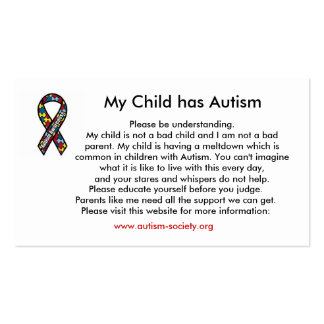 Autism cards Double-Sided standard business cards (Pack of 100)