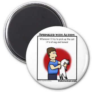 autism cartoon about trying to pick up a cat - fun 2 inch round magnet