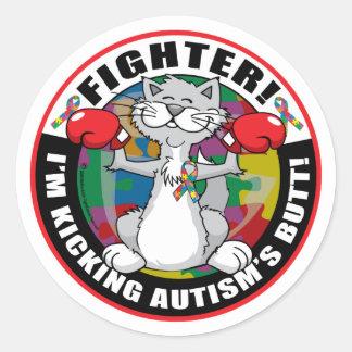 Autism Cat Fighter Classic Round Sticker