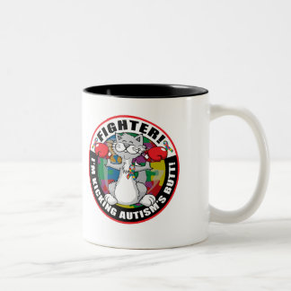 Autism Cat Fighter Two-Tone Coffee Mug