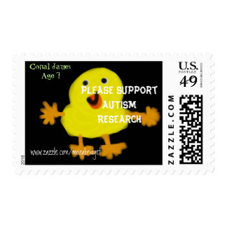 AUTISM CHICK by Conal James Postage Stamps