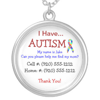 Autism Child s ID Necklace Fully Changeble Text