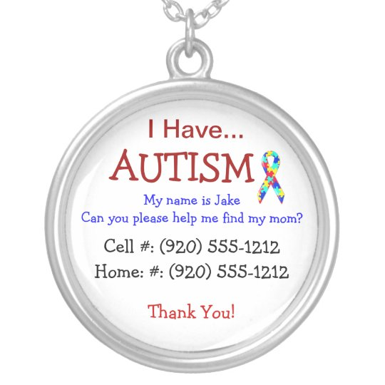 Autism Child's ID Necklace (Fully Changeble Text)