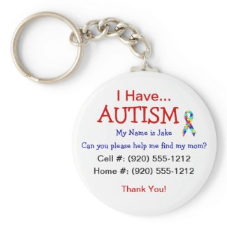 Autism Child's ID Zipper Pull (Changeble Text) keychain