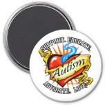 Autism Classic Heart Tattoo 3 Inch Round Magnet