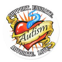 Autism Classic Heart Tattoo Classic Round Sticker