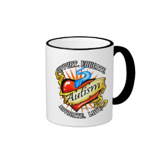 Autism Classic Heart Tattoo Ringer Mug