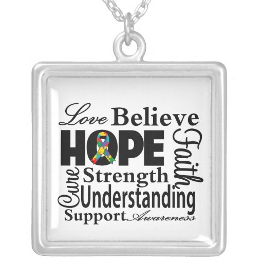 Autism Collage of Hope Square Pendant Necklace