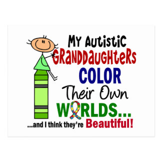 Autism COLOR THEIR OWN WORLDS Granddaughters Postcard