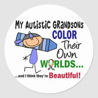 Autism COLOR THEIR OWN WORLDS Grandsons Classic Round Sticker