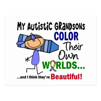 Autism COLOR THEIR OWN WORLDS Grandsons Postcard