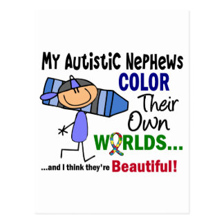 Autism COLOR THEIR OWN WORLDS Nephews Postcard