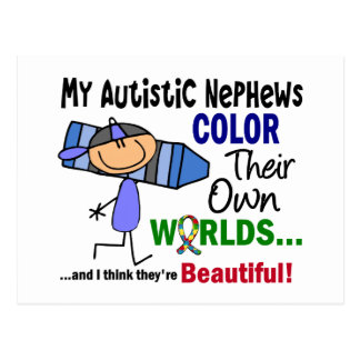 Autism COLOR THEIR OWN WORLDS Nephews Postcards