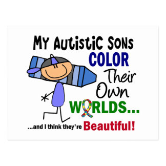 Autism COLOR THEIR OWN WORLDS Sons Postcard