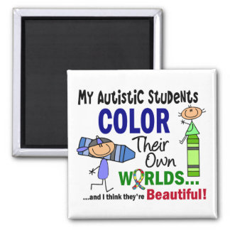 Autism COLOR THEIR OWN WORLDS Students 2 Inch Square Magnet