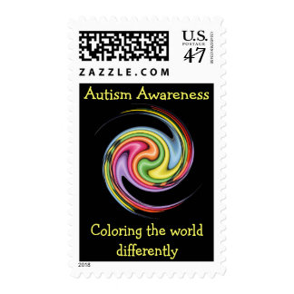 Autism Coloring The World Postage Stamp