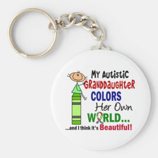 Autism COLORS HER OWN WORLD Granddaughter Keychain